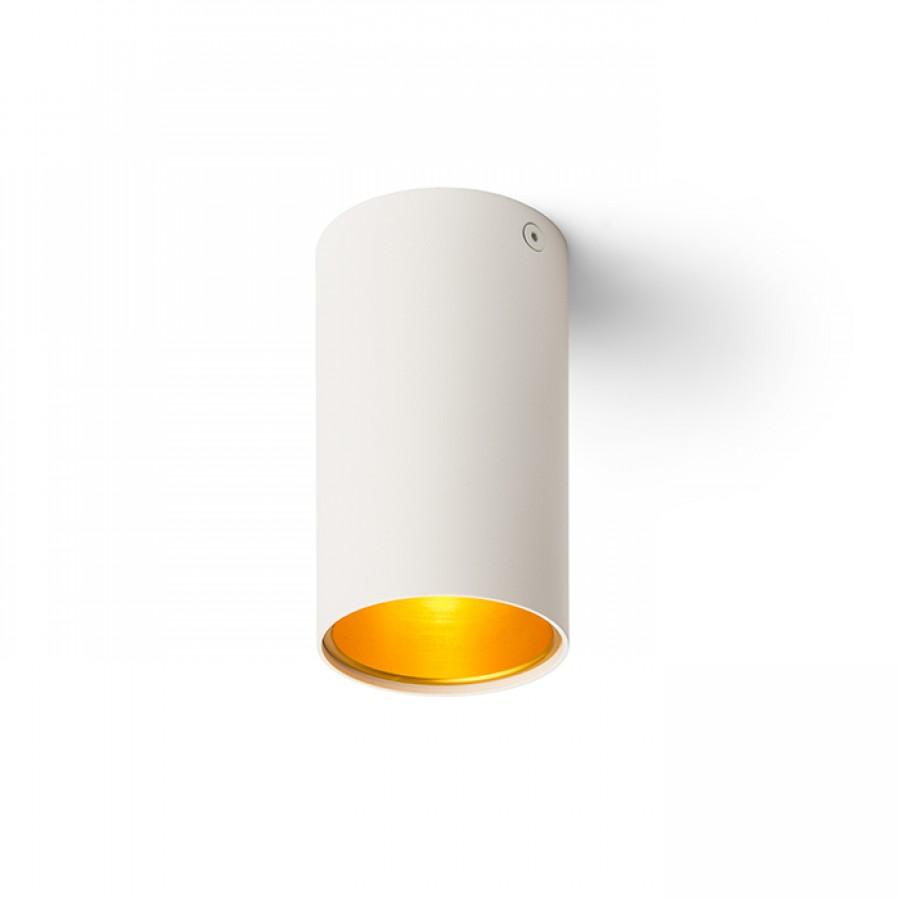 TUBA stropní matná bílá/zlatá  230V GU10 35W